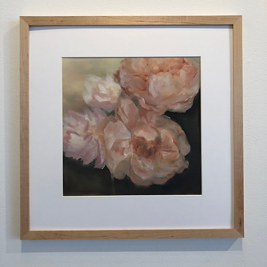 """peony study, 12x12"""" oil on paper (unframed and unmatted)"""