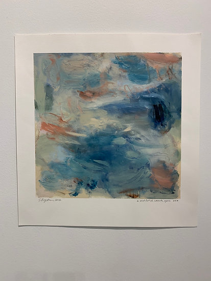 A wind full of intimate space 15x15 oil on paper unframed
