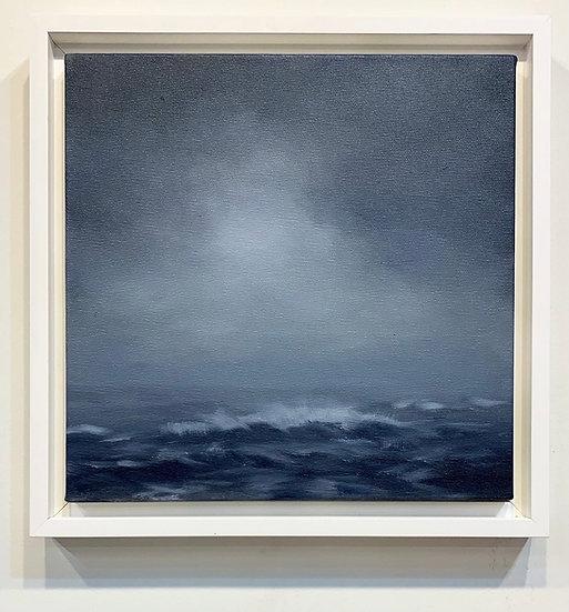 """seascape v, 10x10"""" oil on canvas, framed in white floater"""