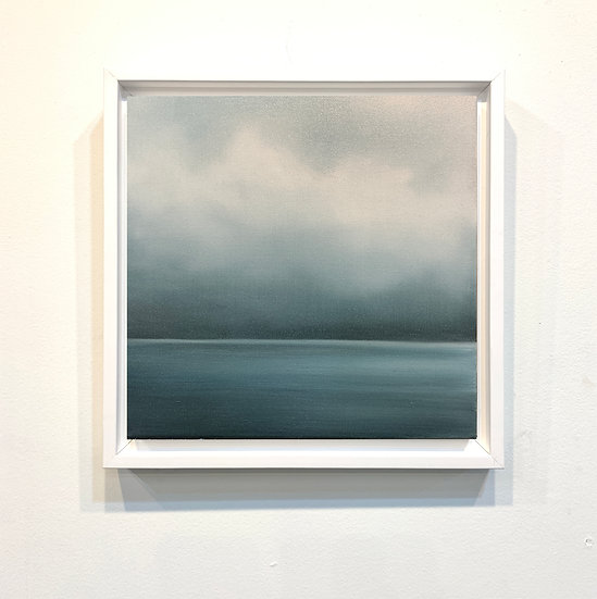 "meditative blue, 10x10"" oil on canvas, framed"