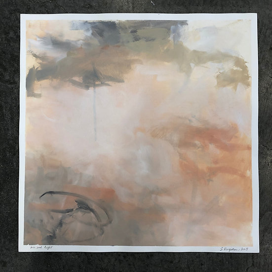 "air and light, oil on paper, 19.75x19.75"" plus small white border $100"