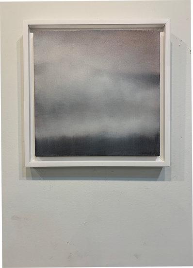 "barely rose atmosphere ii, 10x10"" oil on canvas, framed in white floater frame"