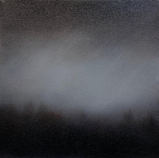"""treeline i, 10x10"""" oil on canvas, framed in white floater"""