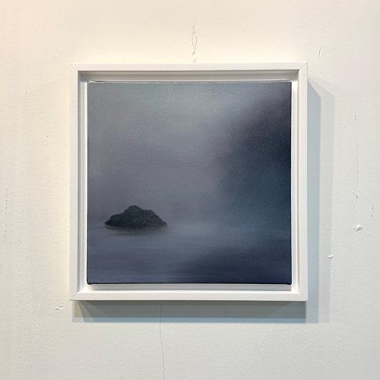 "solitude blue, 10x10"" oil on canvas, framed"