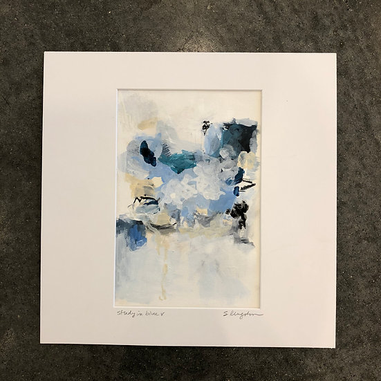 """study in blue v, art 6x9"""" matted to 12x12"""", includes mat"""