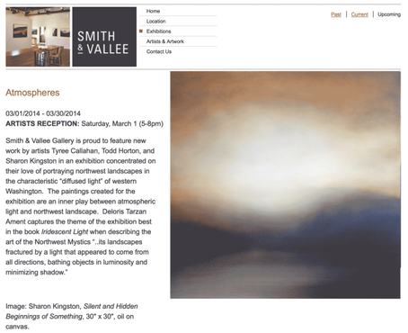 Exhibit Announcement: Atmospheres at Smith & Vallee Gallery in Edison, WA