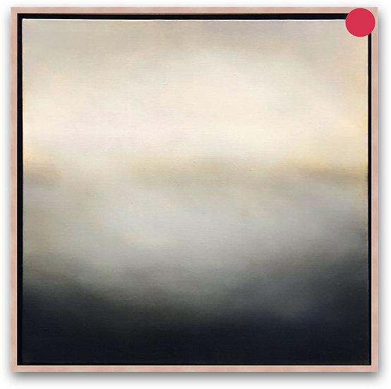 "'blanket', 18x18"" oil on canvas, framed in clear maple floater frame"