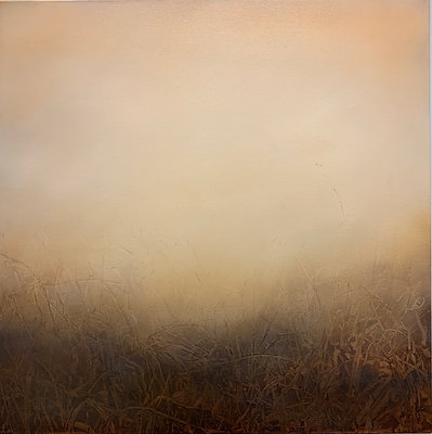 """a visible uncertainty, potters clay, 30x30"""" oil on canvas framed"""