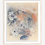 """Thumbnail: flower abstract, blue/coral, 22.5x27"""" oil on paper, unframed"""