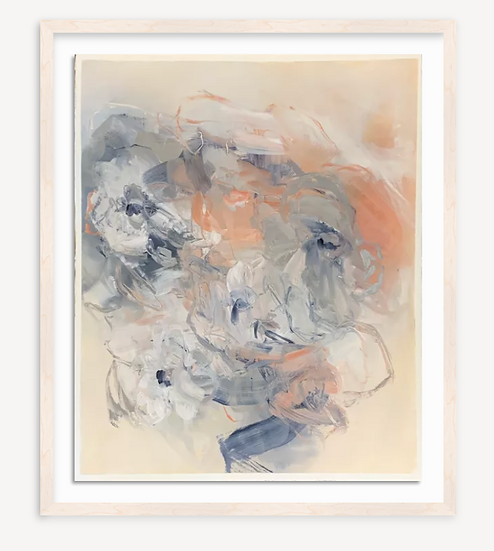 """flower abstract, blue/coral, 22.5x27"""" oil on paper, unframed"""