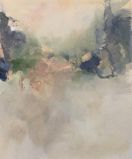 "sanctum, 22x27"" oil on paper, unframed"