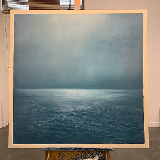 """night sea after agnes martin, 48x48"""" oil on canvas, unframed"""