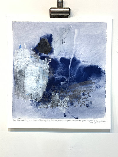 """blue musings i, mary oliver, 15x16"""" mixed media on paper"""