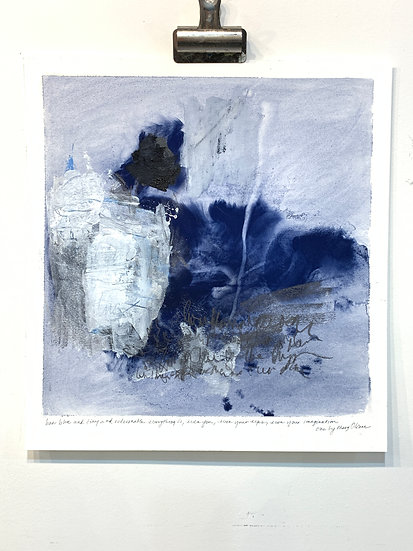 "blue musings i, mary oliver, 15x16"" mixed media on paper"