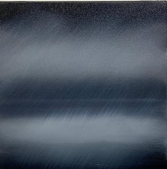 """shoreline i, 10x10"""" oil on canvas, framed in white floater"""