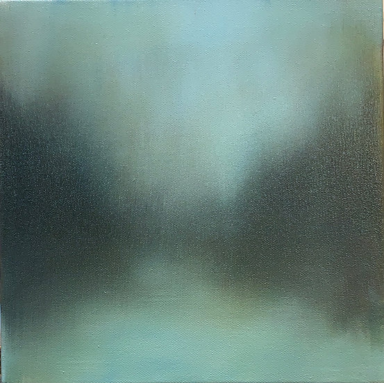 """moodtone i, 10x10"""" oil on canvas, framed in white wood floater"""