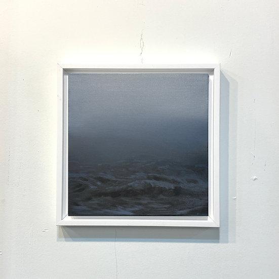 "windy blue, 10x10"" oil on canvas, framed"