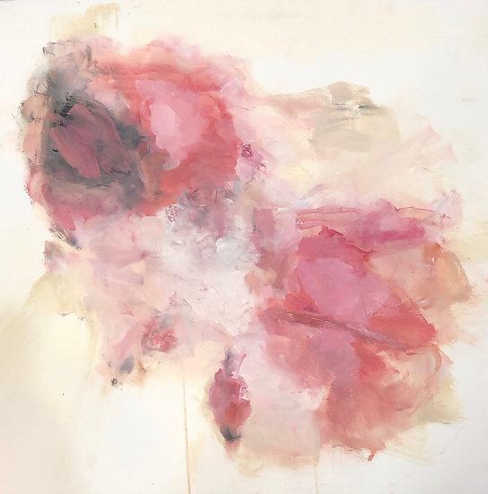 "helen's tulips, 17.5x17.5"" oil on paper"