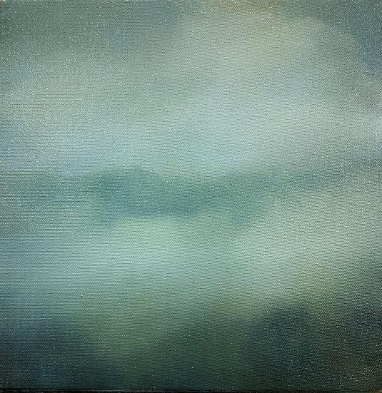 nostalgia i, 10x10: oil on canvas, framed in white floater