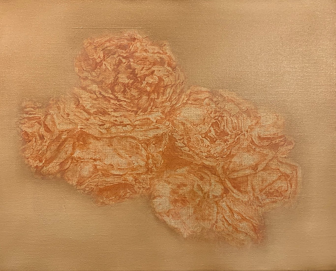 "Heavy roses in potters clay 16x20"" oil on linen unframed"