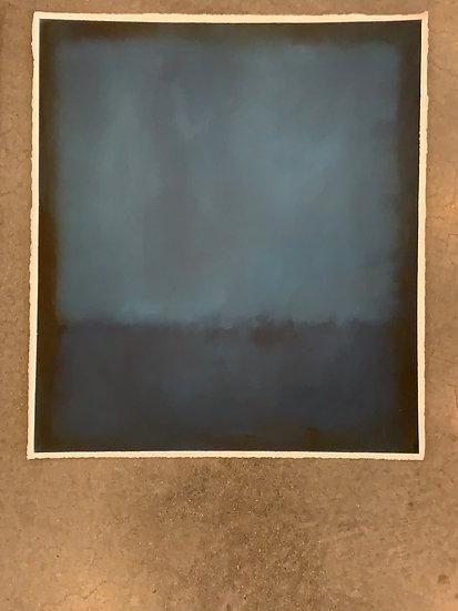 "Indigo colorfield study , 22x25"" oil on paper  unframed"