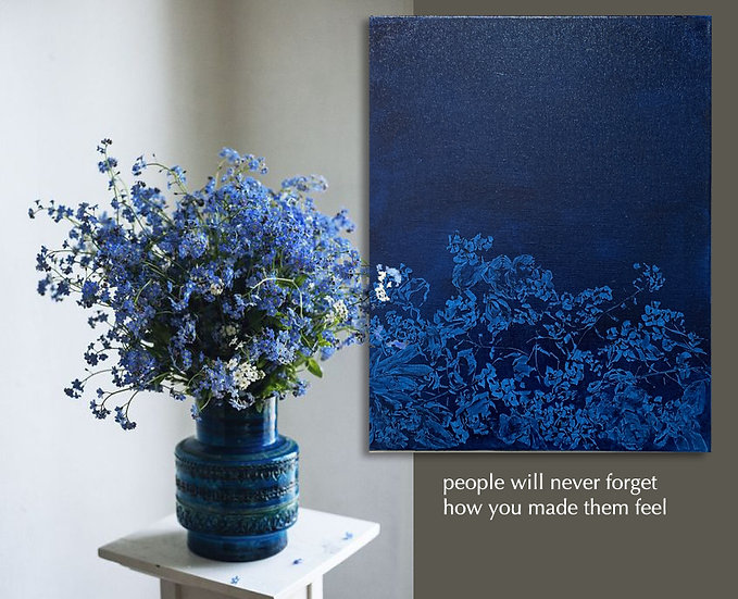 painted cyanotype ii, forget me nots, 16x20, oil on linen