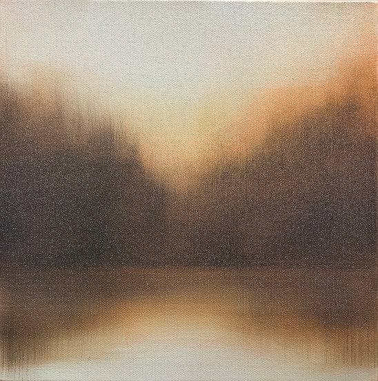"""Eventide i 10x10"""" oil on canvas, framed in white wood floater"""