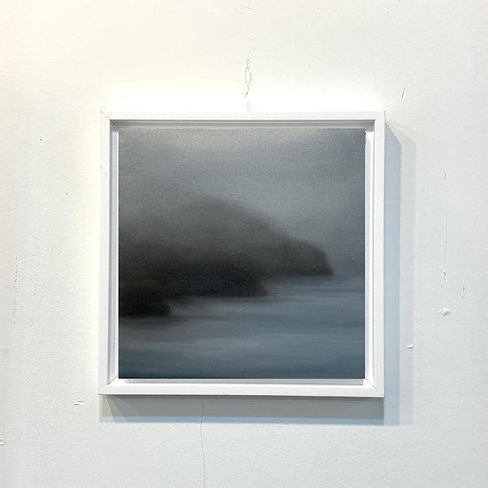 "shoreline blue ii, 10x10"" oil on canvas, framed"