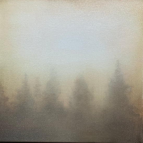 "Tree fog i 10x10"" oil on canvas, framed in white wood floater"