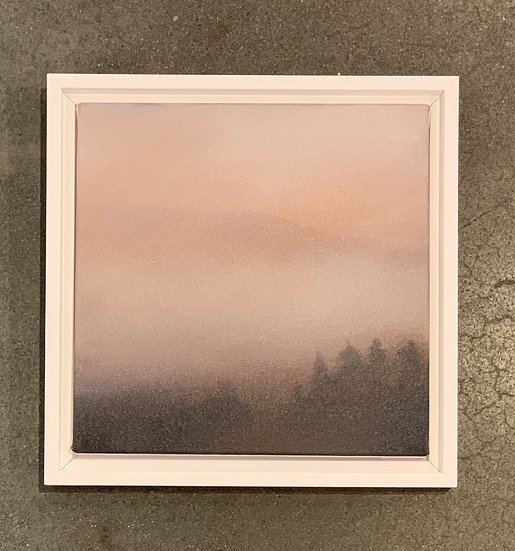 "rose atmosphere iii, 10x10"" oil on canvas, framed in white wood floater"