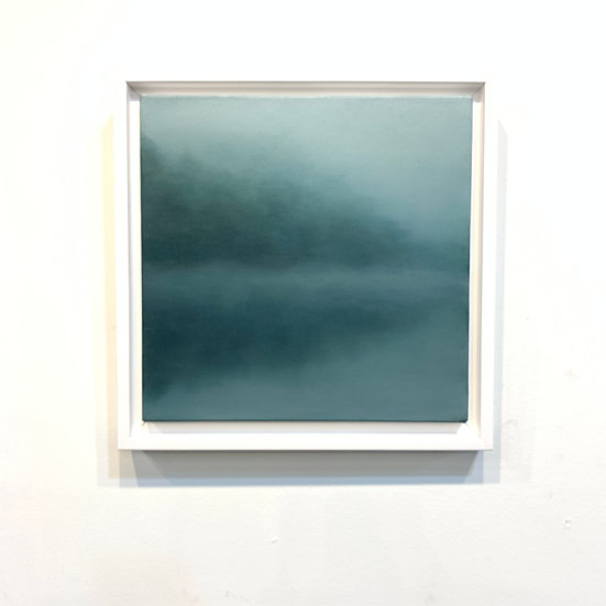 "moody blue, 10x10"" oil on canvas, framed"
