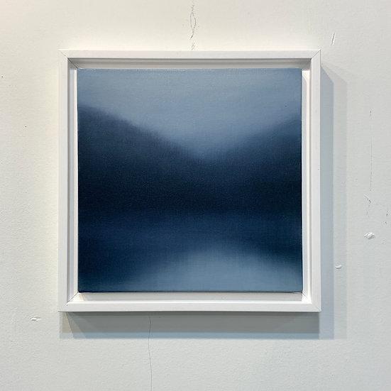 "mild blue, 10x10"" oil on canvas, framed"