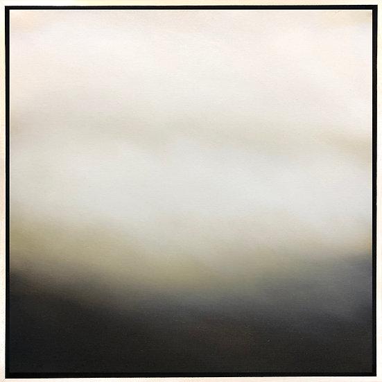 """blanket ii, 18x18"""" oil on canvas, framed in maple floater frame"""