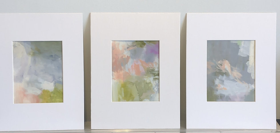 """'melt i, ii and iii', 8x10"""" oil on paper, matted to 14x18"""""""