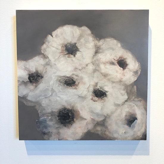 """flower study ii, 16x16"""" oil on cradled board, $150"""