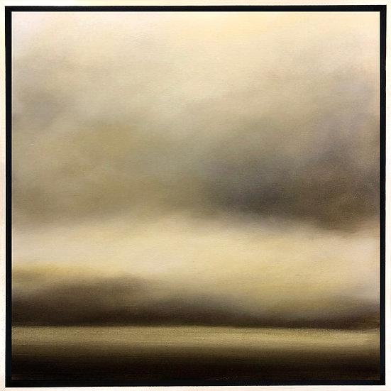 """veiled in gold, 18x18"""" oil on canvas, framed in maple floater frame"""