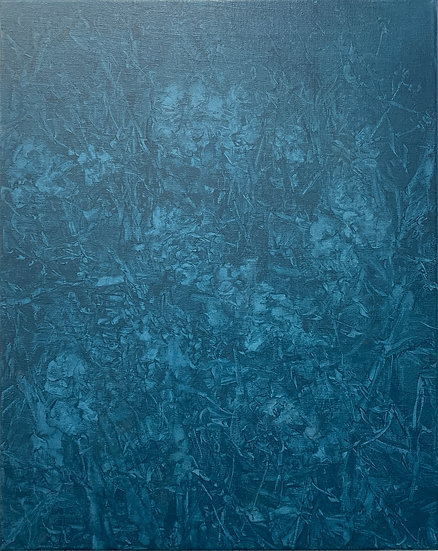 painted cyanotype i, blue wildflowers, 16x20, oil on linen