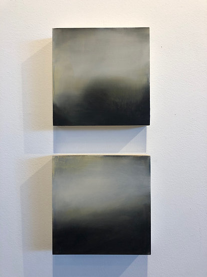 """'nocturne i and ii' each 8x8"""" oil on cradled board, unframed"""