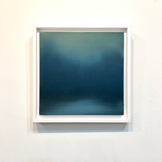 "ebbtide blue, 10x10"" oil on canvas, framed"