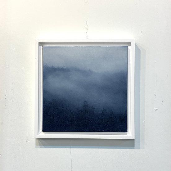 """honest blue, 10x10"""" oil on canvas, framed"""