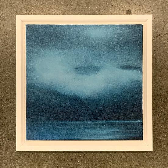 "indigo lake, 10x10"" oil on canvas, framed in white wood floater"