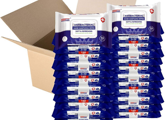 Antibacterial Sanitizing Wipes 50ct (1,200 Wipes) Case Pricing Includes 24 Packs