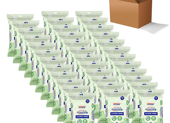 75%  Alcohol Antibacterial  540 Wipes Total (36 packs x 15ct/pack) Super Value