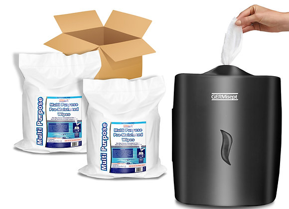Germisept Multi-Purpose 2 X 800ct Wipes + Wall Mount Dispenser Combo Ideal Pack