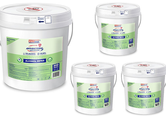 Disinfecting 75% Alcohol Wipes 4 x 300ct = 1200ct With Easy Dispensing Bucket