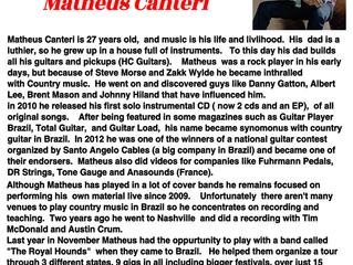 Matéria na Revista Nashville Country Music Magazine - Matheus Canteri Mar/18