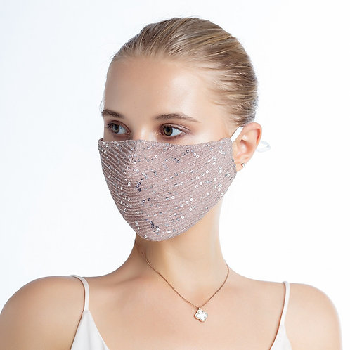 Fashion Glitter Mask with Filter Insert, Pink