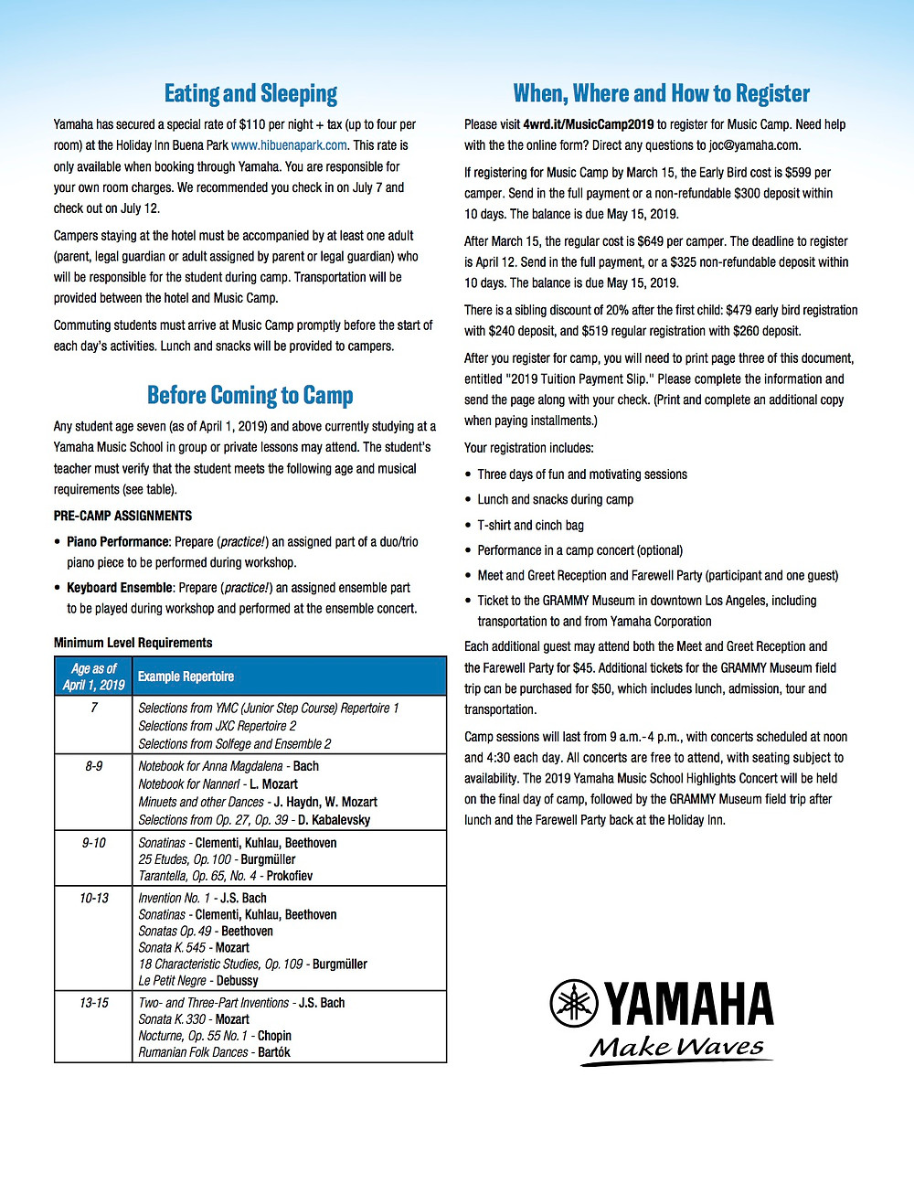 2019 Yamaha Music Camp Brochure 2