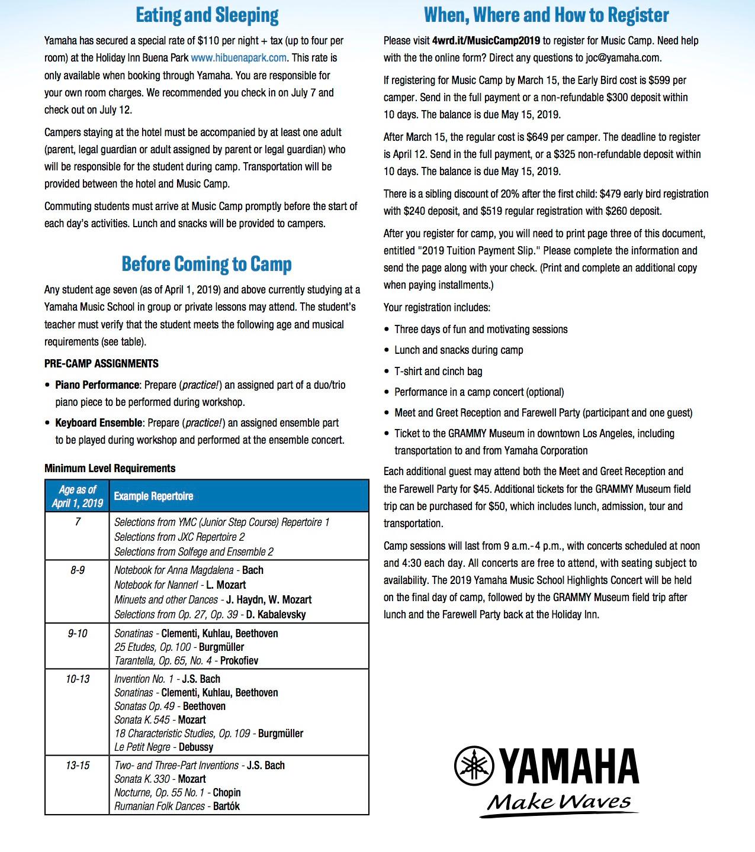 2019 Yamaha Music Camp Brochure 2