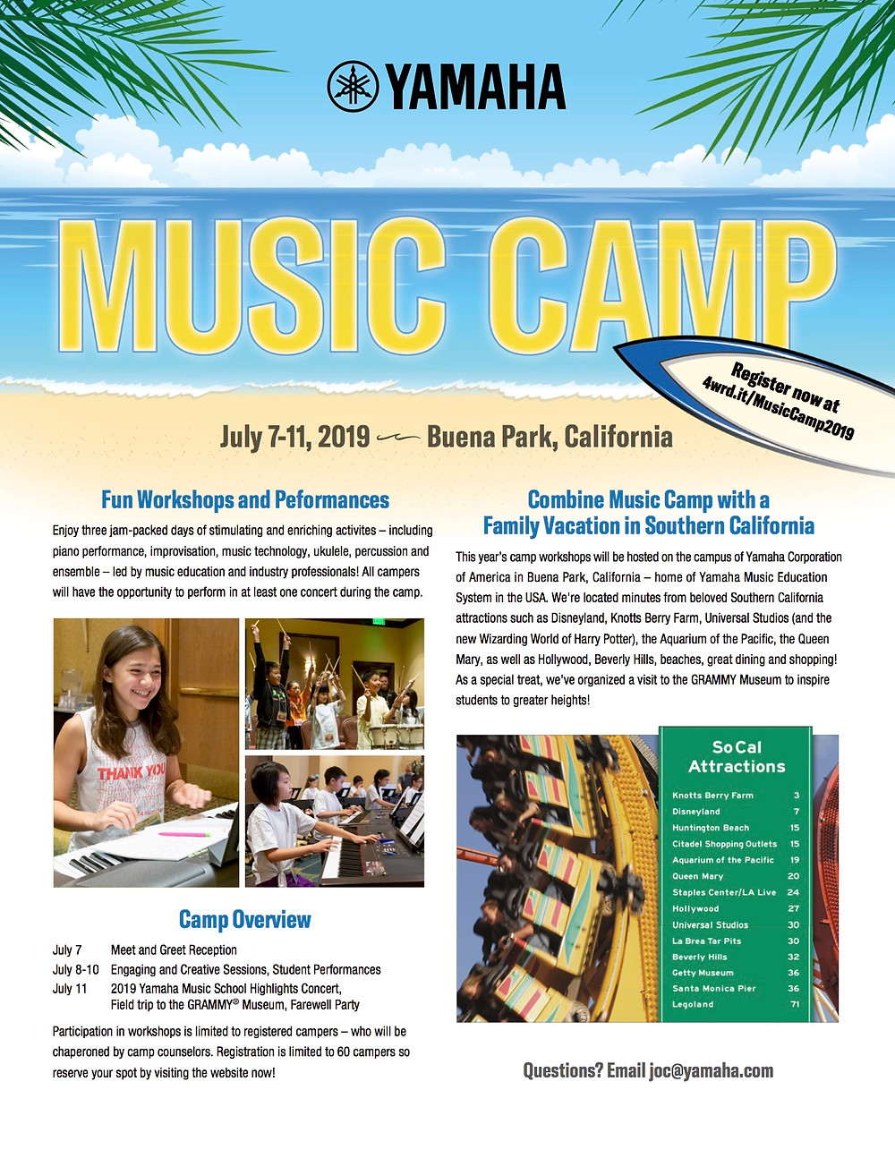 2019 Yamaha Music Camp Brochure 1